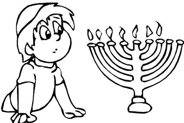 Menorah, : Boy Looks at Menorah Coloring Page