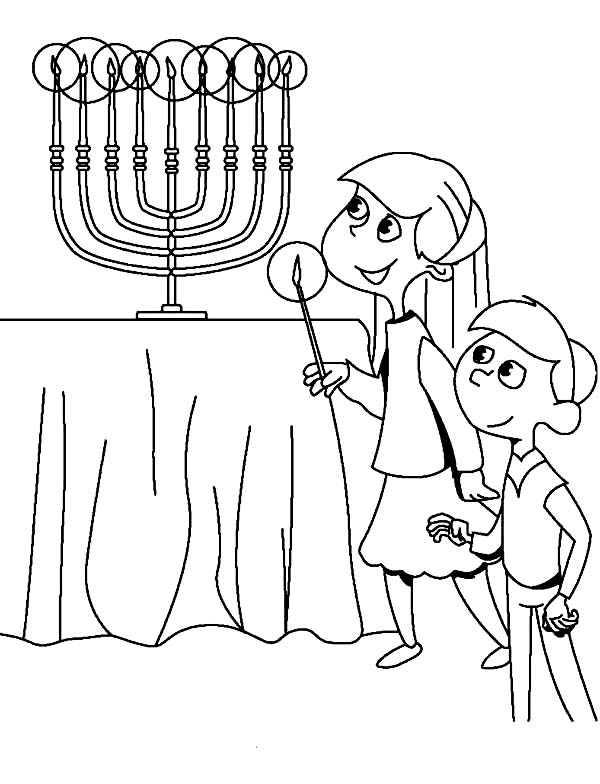 Chanukah, : Boy and Girl Light Chanukah Menorah Coloring Page