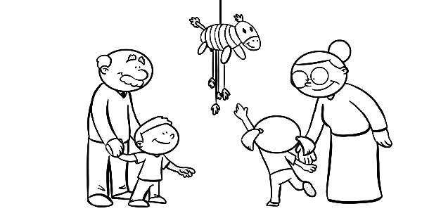 Pinata, : Breaking Pinata with Grandpa and Grandma Coloring Page