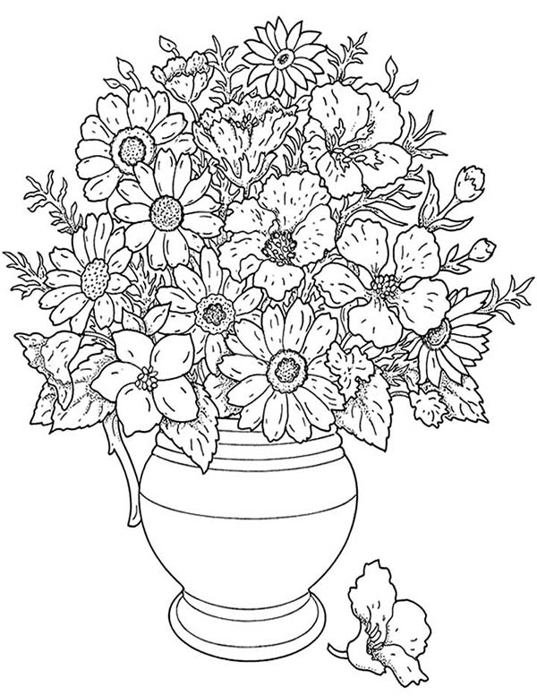 California Poppy, : California Poppy in a Vase Coloring Page