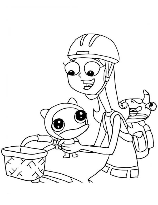 Phineas and Ferb, : Candace Flynn Riding Bicycle in Phineas and Ferb Coloring Page