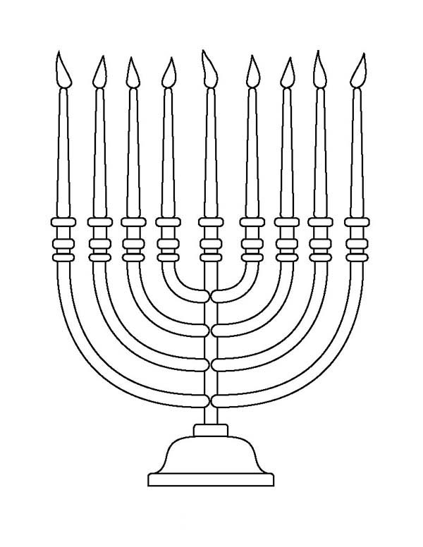 Chanukah, : Candles of Chanukah Coloring Page