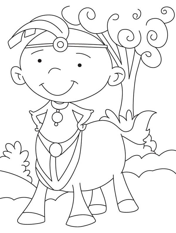 Centaur, : Cartoon of a Centaur Coloring Page