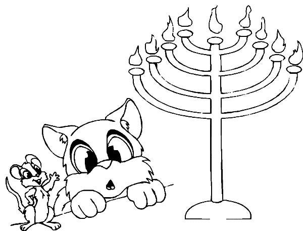 Menorah, : Cat and MouseWatching Menorah Coloring Page