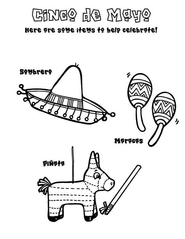 Pinata, : Celebrate Cinco de Mayo with Sombrero Maracas and Pinata Coloring Page