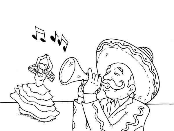 Mexican Fiesta, : Celebrating Cinco de Mayo and Mexican Fiesta Coloring Page