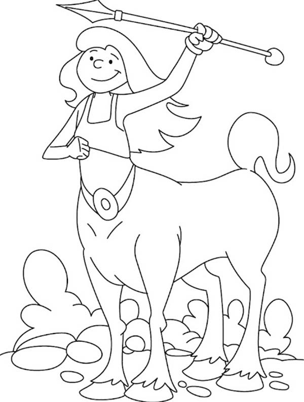 Centaur, : Centaur Lady with Sharp Spear Coloring Page