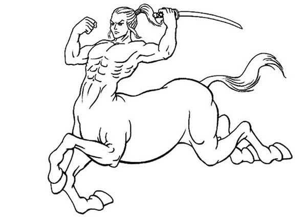 Centaur, : Centaur Moving Forward with Katana Coloring Page