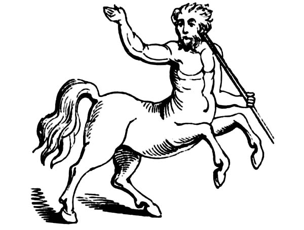 Centaur, : Centaur the Half Man and Half Horse Creature Coloring Page