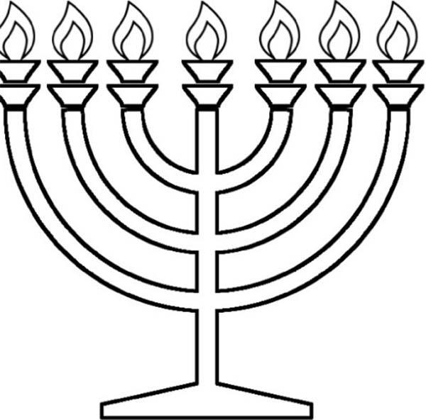 Chanukah, : Chanukah Menorah Coloring Page