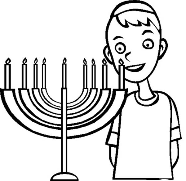 Chanukah, : Chanukah Menorah and Jewish Boy Coloring Page