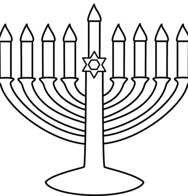 Chanukah, : Chanukah Menorah with Stars of David Ornament Coloring Page