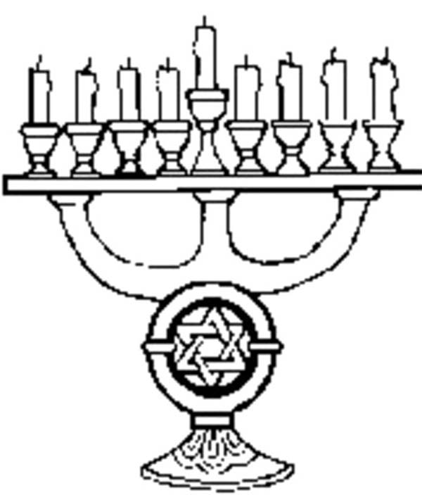 Chanukah, : Chanukah Ornaments Menorah Coloring Page
