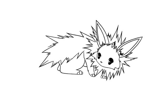 Jolteon, : Chibi Jolteon Coloring Page
