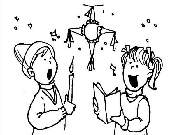 Pinata, : Christmas Pinata Coloring Page