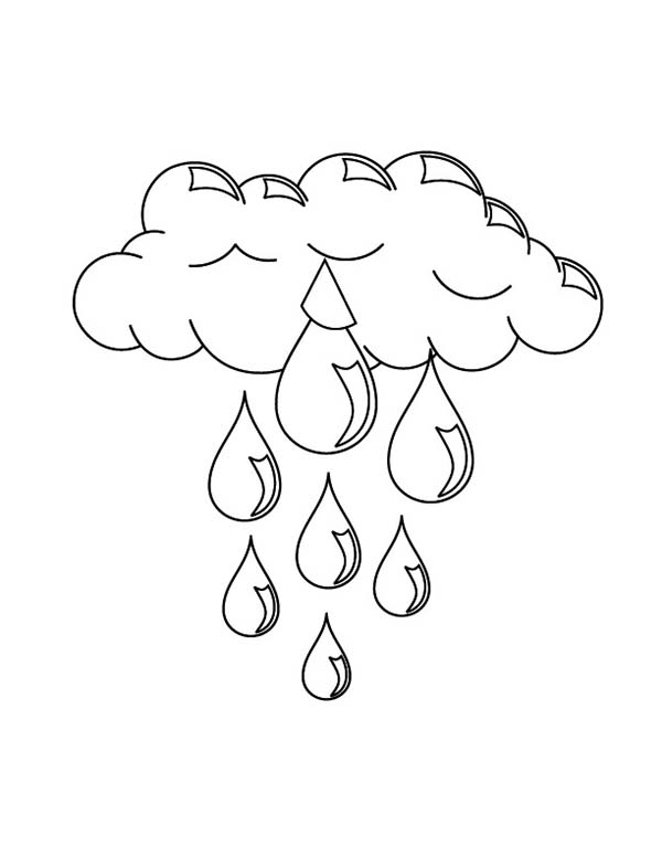 Clouds, : Clouds Pouring Rain Coloring Page