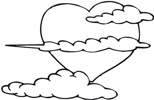Clouds, : Clouds Shaped Heart Coloring Page