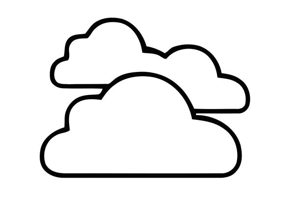 Clouds, : Clouds in the Sky Coloring Page