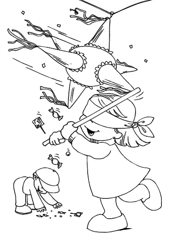 Pinata, : Collecting Candy from Pinata Coloring Page