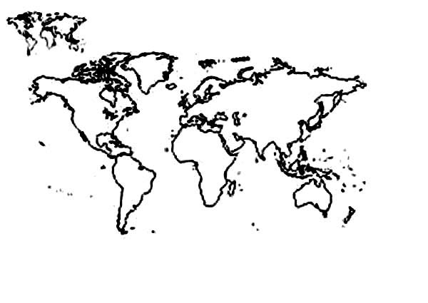 World Map, : Complete World Map Coloring Page