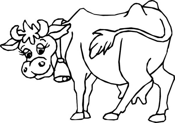 Cow, : Cow with Bell on Her Neck Coloring Page