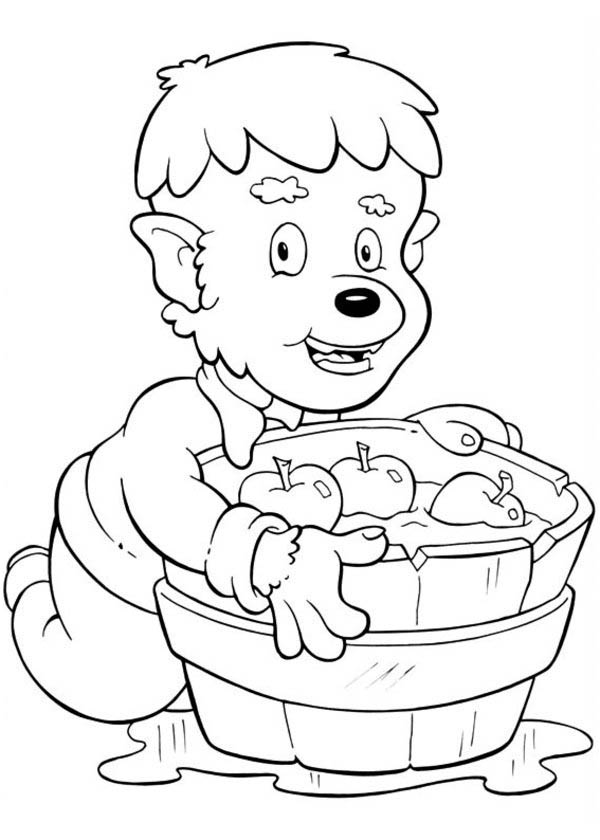 Funschool Halloween, : Cute Little Werewolf with a Barrel Full of Apple in Funschool Halloween Coloring Page