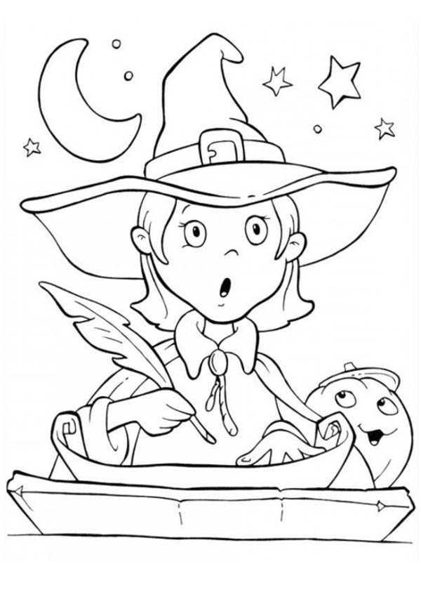 Cute Little Witch Is Surprised In Funschool Halloween ...