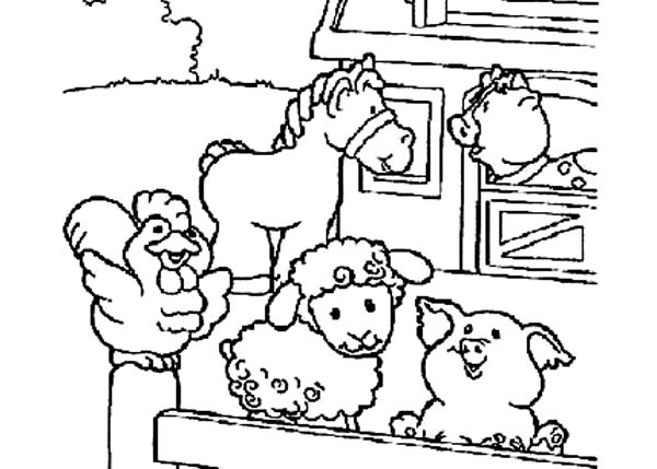 Farm Animal, : Cute Picture of Farm Animal in the Barn Coloring Page