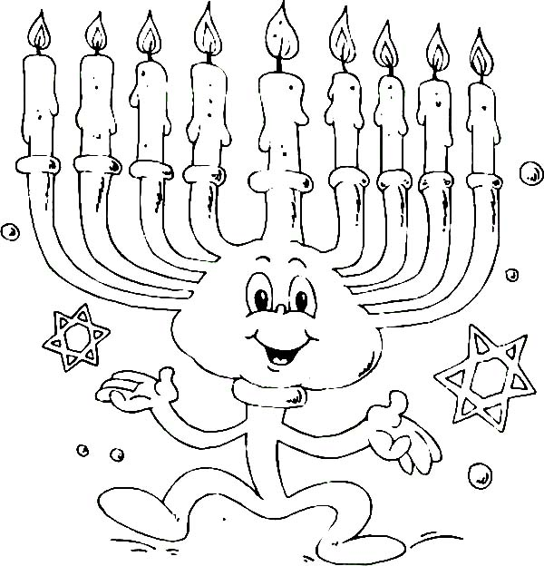 Menorah, : Dancing Menorah Coloring Page