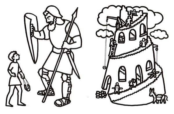 Tower of Babel, : David and Goliath in Tower of Babel Coloring Page