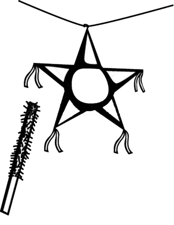 Pinata, : Decorated Stick and Star Pinata Coloring Page