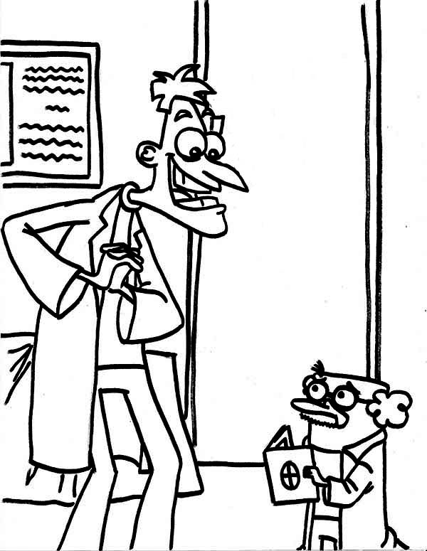 Phineas and Ferb, : Dr Doofenshmirtz and Agent P as Doctor in Phineas and Ferb Coloring Page