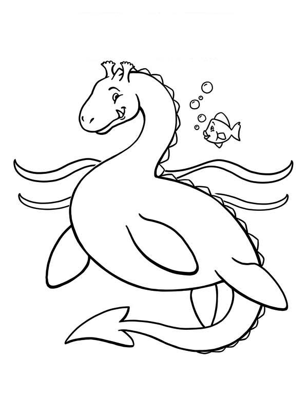 Dragon Sea Monster Coloring Page : Kids Play Color