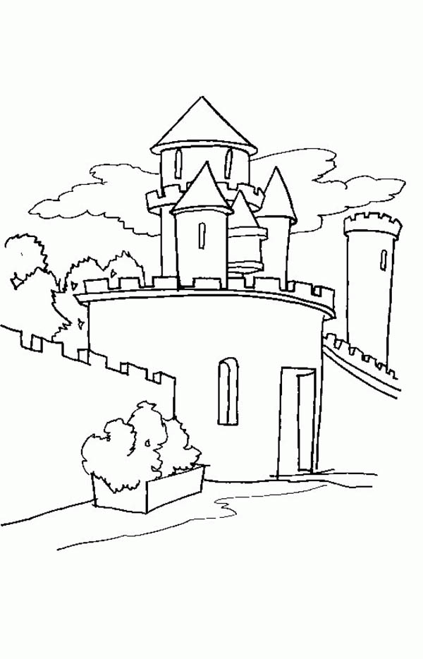 Medieval Castle, : Drawing of Medieval Castle Coloring Page
