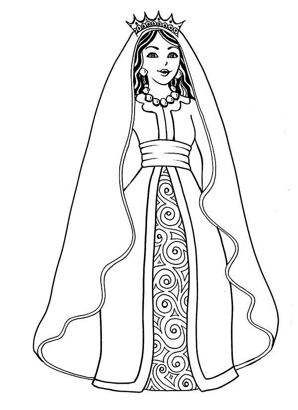 Queen Esther, : Drawing of Queen Esther Coloring Page