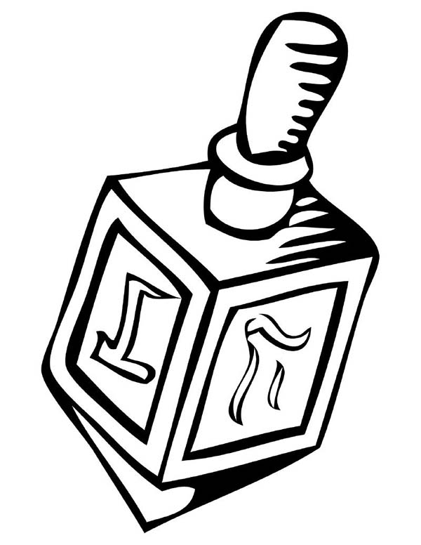Chanukah, : Dreidel Chanukah Coloring Page