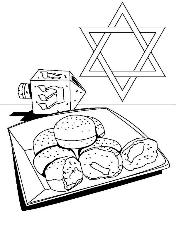 Chanukah, : Dreidel and Cookkosher of Chanukah Coloring Page
