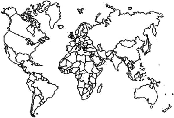 World Map, : Educate Student with World Map Coloring Page