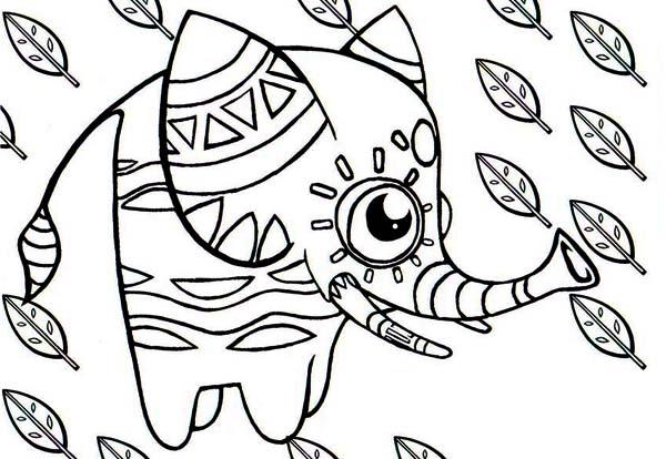 Pinata, : Elephant Shaped Pinata Coloring Page