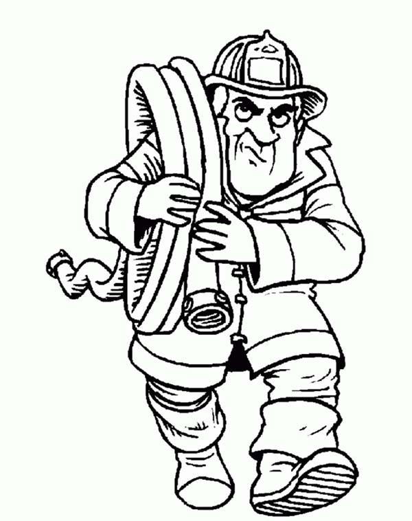 Fireman, : Fireman Bring Water Hose Coloring Page