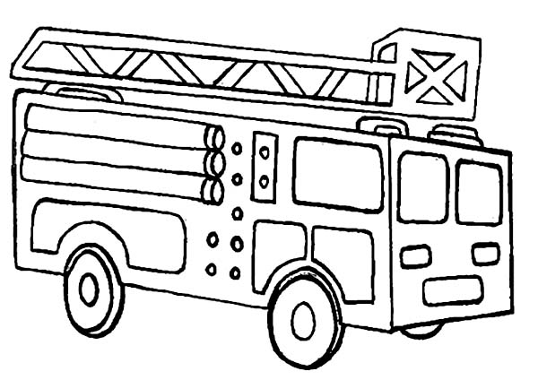 Fireman, : Fireman Fire Engine Coloring Page