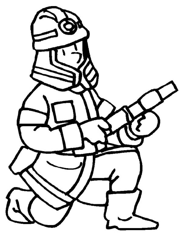 Fireman, : Fireman Get Ready Coloring Page