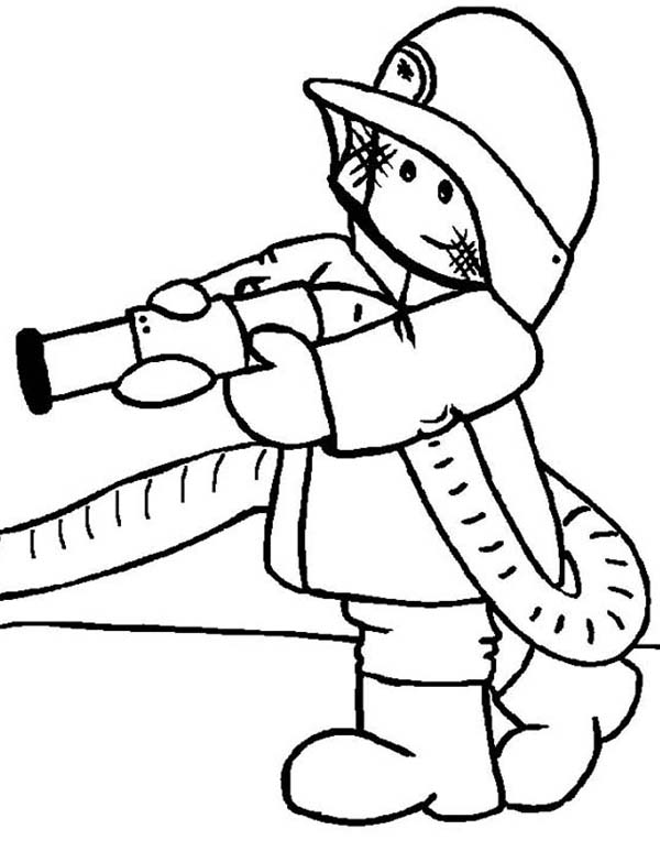 Fireman, : Fireman Helping People Coloring Page