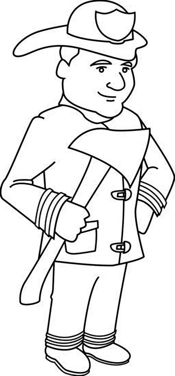 Fireman, : Fireman Holding an Axe Coloring Page