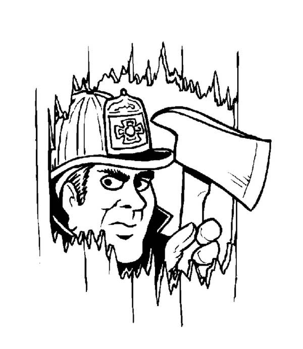 Fireman, : Fireman Make Hole with Axe Coloring Page