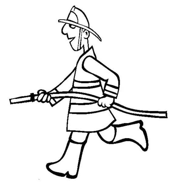Fireman, : Fireman Run with Water Hose Coloring Page