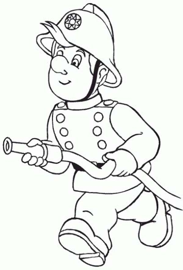 Fireman, : Fireman Running with Water Hose Coloring Page