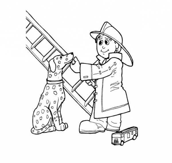 Fireman, : Fireman Saving a Dogs Life Coloring Page