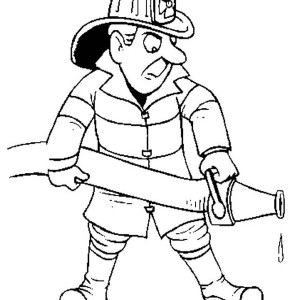Fireman On Fire Car Coloring Page : Kids Play Color