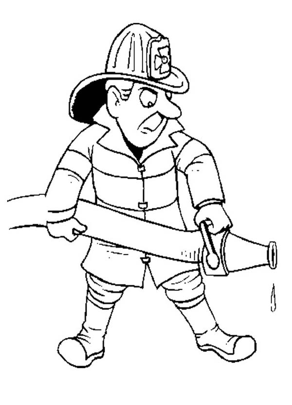 Fireman, : Fireman Spraying a Lot of Water Coloring Page